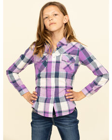 Shyanne Girls' Purple Plaid Long Sleeve Shirt, Purple, hi-res