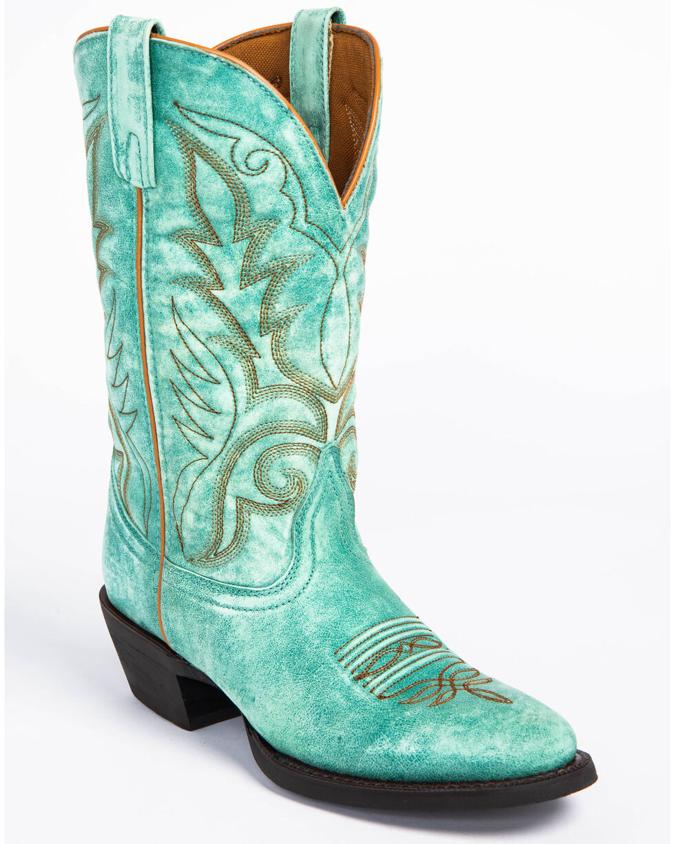 Laredo Women's Sofia Turquoise Leather Cowgirl Boots - Round Toe, Turquoise, hi-res