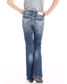 Rock & Roll Cowgirl Girls' Dark Wash Aztec Pocket Bootcut Jeans, Blue, hi-res