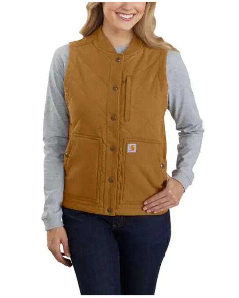 Carhartt Women's Rugged Flex Canvas Rib Collar Vest , Brown, hi-res