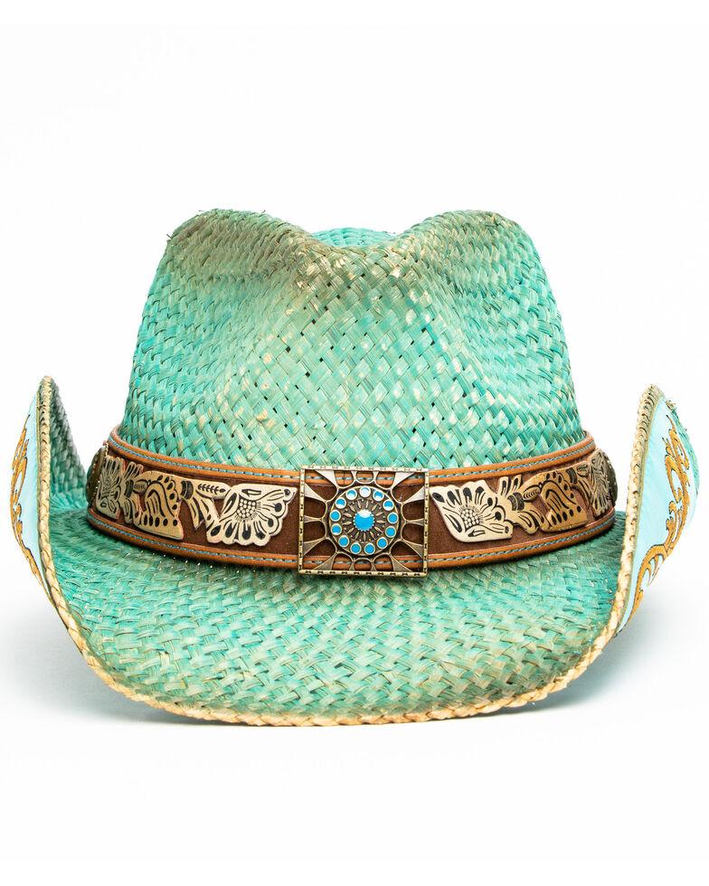Shyanne Women's Cactus Flower Western Straw Hat , Blue, hi-res