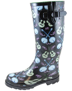 Smoky Mountain Women's Banjo Rubber Rain Boots - Round Toe, Black, hi-res