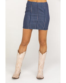Others Follow Women's Blue Pinstripe Lexi Skirt, Blue, hi-res