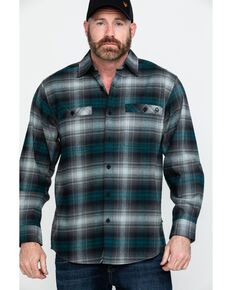 Wolverine Men's Grayson Plaid Stretch Flannel Work Shirt , Black, hi-res
