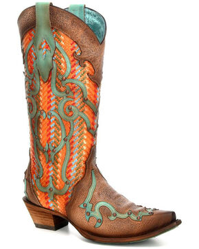 Corral Women's Multicolored Turquoise Overlay Cowgirl Boots - Snip Toe, Tan, hi-res