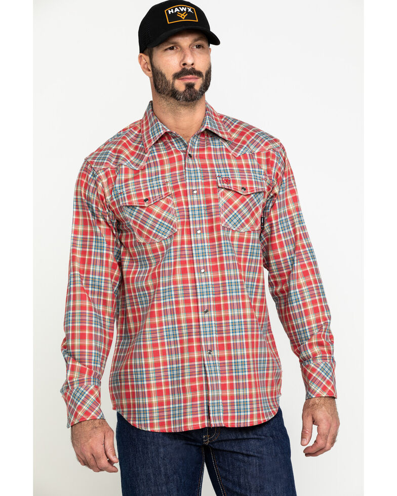 Ariat Men's FR Garrison Retro Plaid Long Sleeve Work Shirt - Big , Chilli, hi-res