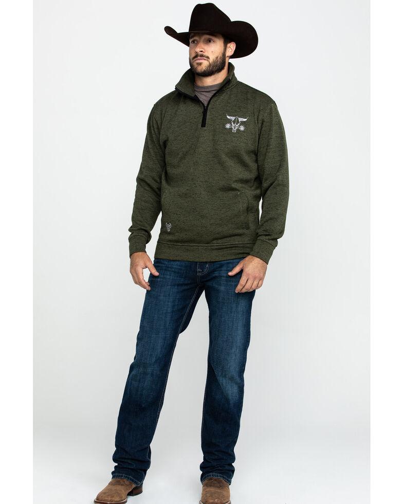 Cowboy Hardware Men's Barbed Skull Cadet Speckle Fleece Pullover Jacket , Olive, hi-res