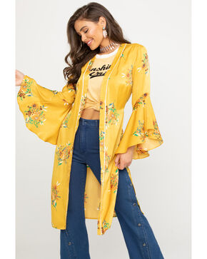 Flying Tomato Women's Floral Satin Duster Kimono, Dark Yellow, hi-res