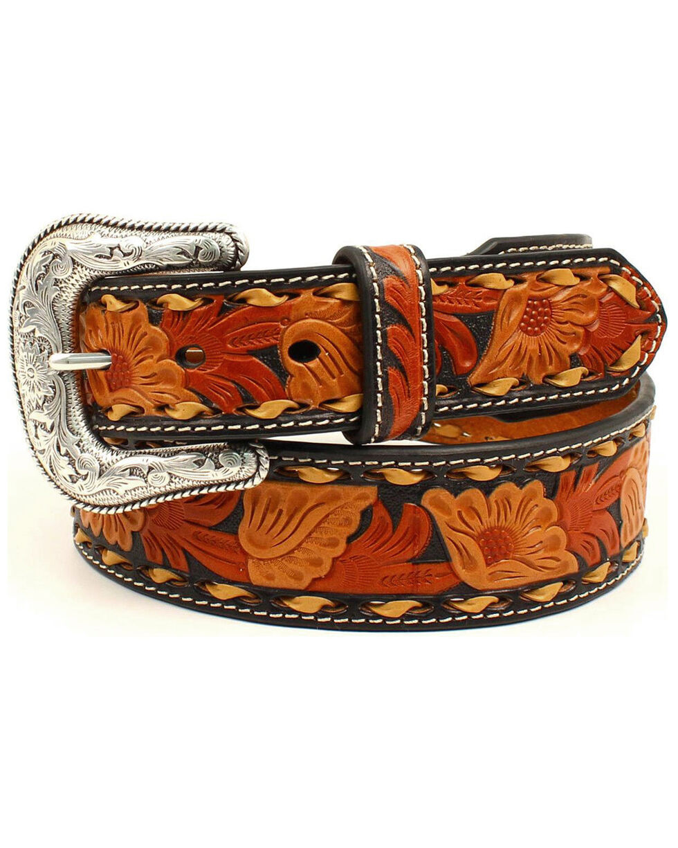 Nocona Men's Tri-Color Floral Tooled Belt, Black, hi-res