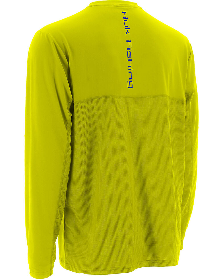 Huk Performance Fishing Men's ICON Long Sleeve T-Shirt , Yellow, hi-res