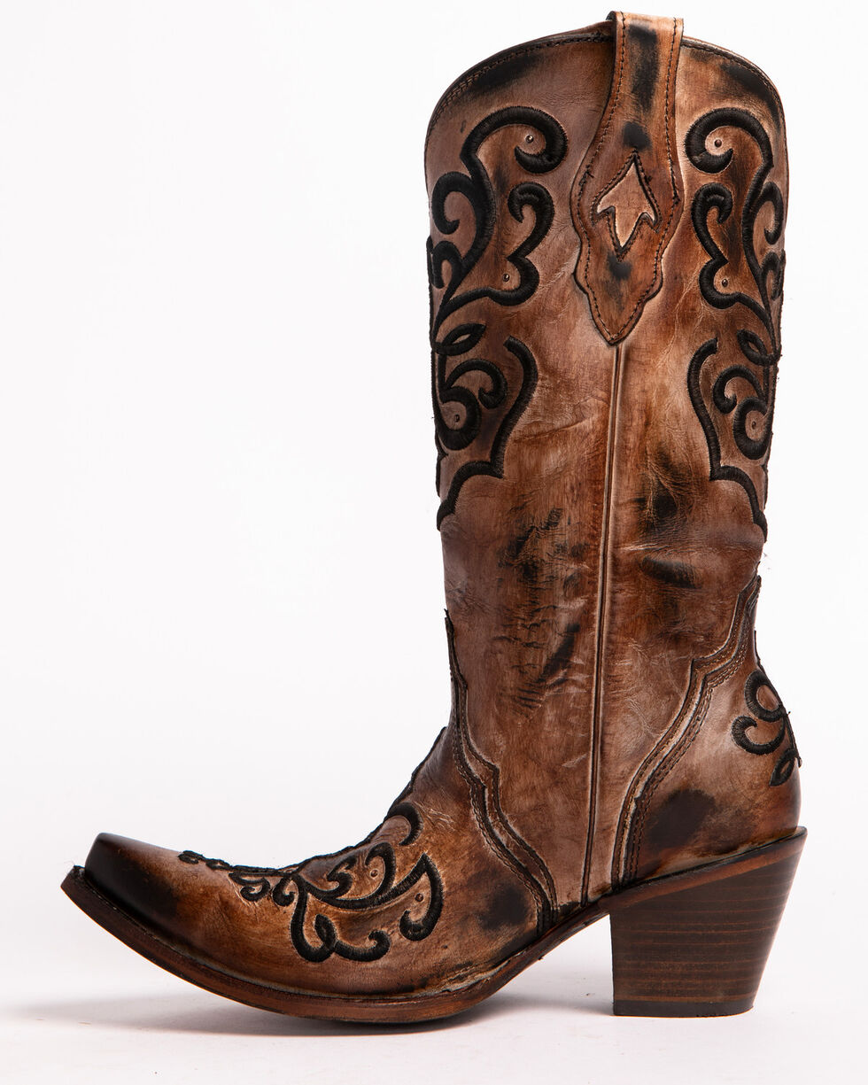 Corral Women's Cord Embroidery and Crystals Western Boots, Brown, hi-res