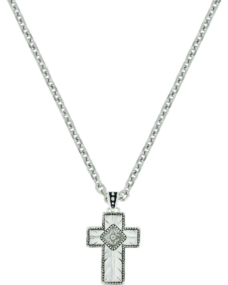 Montana Silversmiths Women's Banded Feathered Cross Necklace , Silver, hi-res