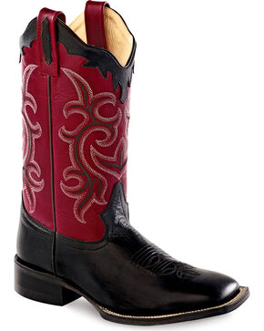 Old West Scalloped Colorful Cowgirl Boots - Square Toe, Black, hi-res
