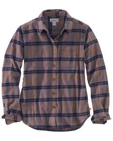 Carhartt Women's Rugged Flex Hamilton Flannel Work Shirt , Burgundy, hi-res