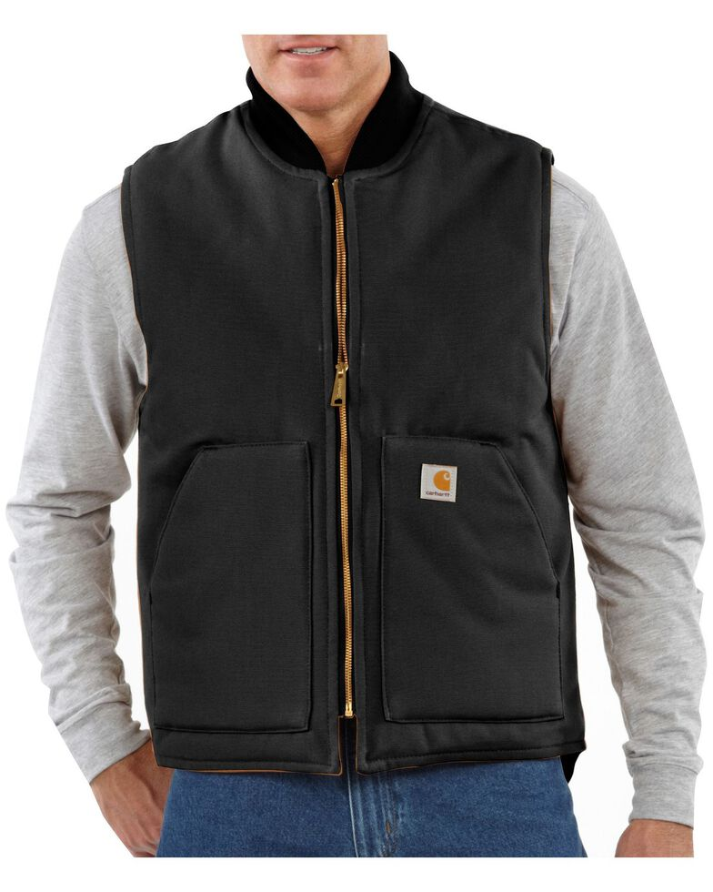 Carhartt Men's Duck Arctic Quilt Lined Vest, Black, hi-res