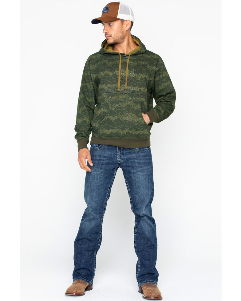 Ariat Men's Branded Brine Hoodie, Olive, hi-res