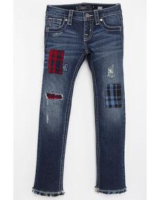 Miss Me Girls' Patchwork Skinny Jeans, Blue, hi-res