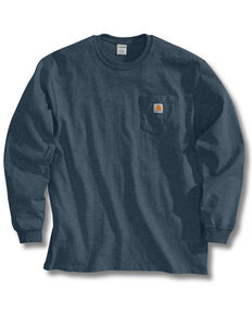 Carhartt Men's Solid Pocket Long Sleeve Work T-Shirt, Blue Stone, hi-res