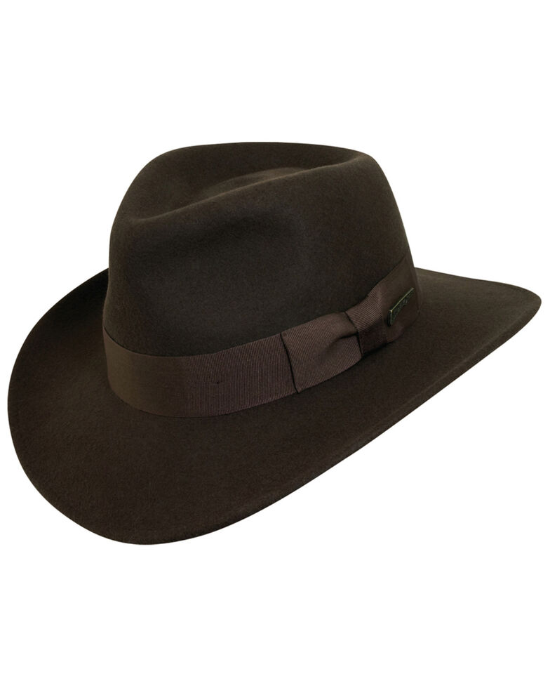 Indiana Jones Crushable Wool Fedora Hat, Chocolate, hi-res
