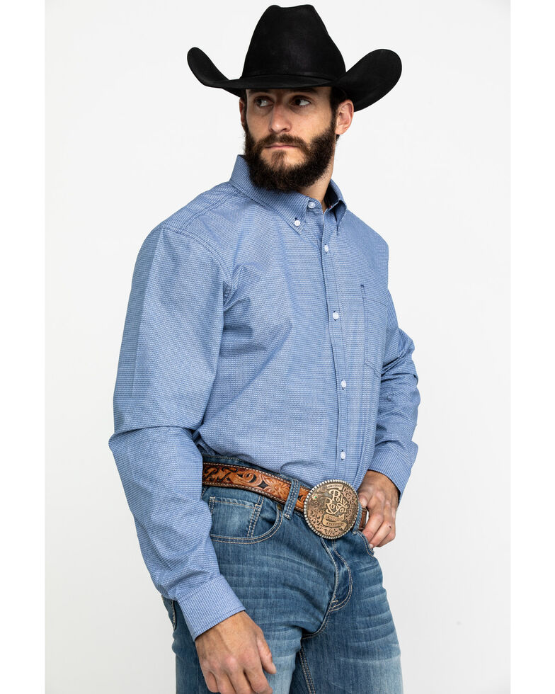Cody James Core Men's Westin Geo Print Long Sleeve Western Shirt - Big , Blue, hi-res