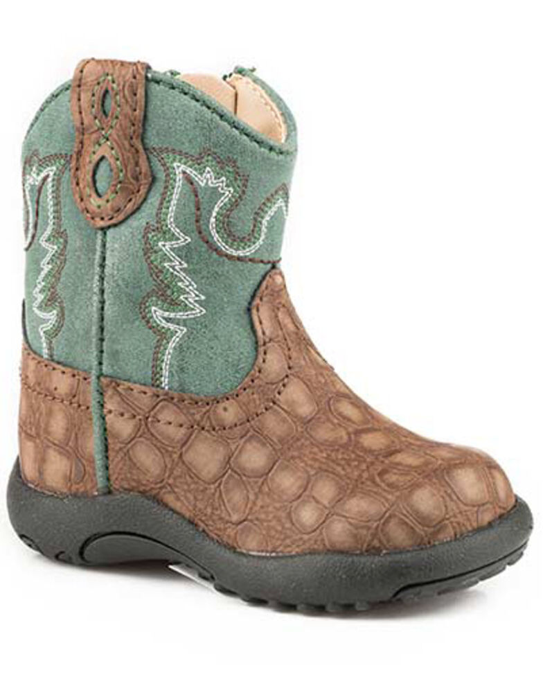 Roper Toddler Boys' Gator Print Western Boots - Round Toe, Brown, hi-res