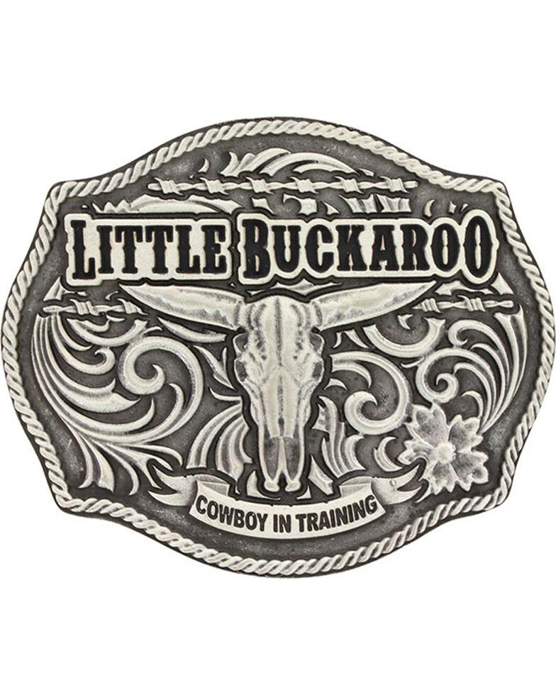 Montana Silversmiths Boys' Silver Buckaroo Skull Buckle , Silver, hi-res