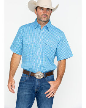 Wrangler Men's Wrinkle Resist Short Sleeve Plaid Shirt , Blue, hi-res