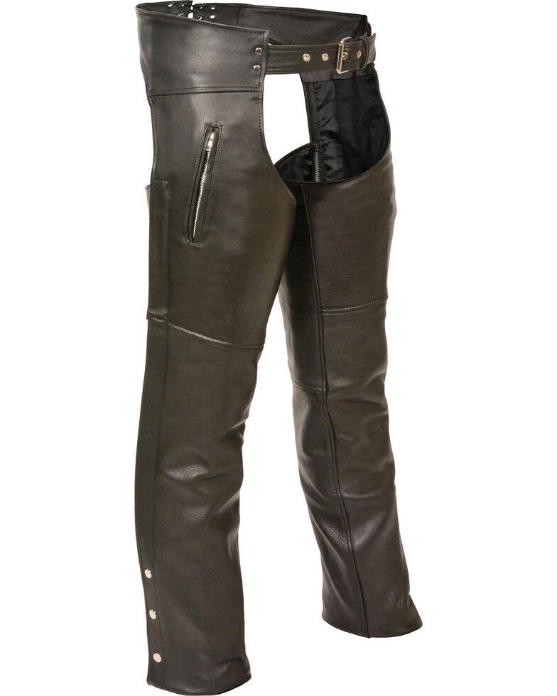 Milwaukee Leather Men's Zipper Thigh Pocket Classic Chaps - 4X, Black, hi-res
