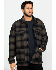 Moonshine Spirit Men's Wylder Wool Ombre Plaid Pea Coat , Brown/blue, hi-res