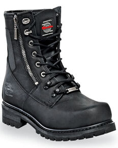 Milwaukee Motorcycle Clothing Co. Men's Throttle Moto Boots - Round Toe, Black, hi-res