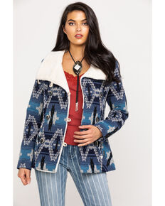 Powder River Outfitters Women's Aztec Jacquard Wool Double Button Jacket, Blue, hi-res