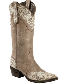 Lane Women's Jeni Lace Western Fashion Boots, Brown, hi-res
