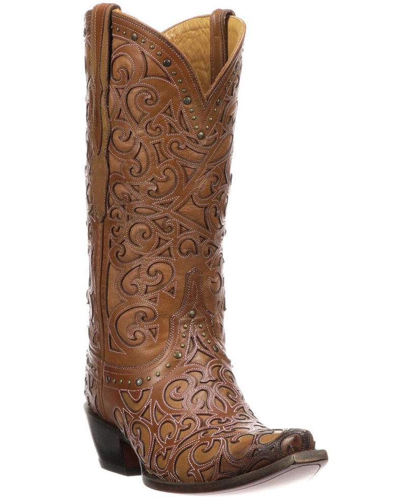 Lucchese Women's Sierra Laser-Cut Overlay Western Boots, Tan, hi-res