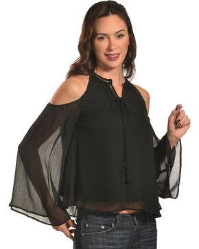 HYFVE Women's Cold Shoulder Blouse with Tassel Trim, Black, hi-res