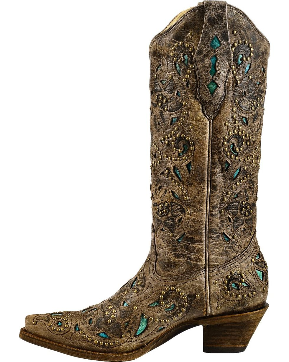 Corral Women's Studded Leather Inlay Western Boots, Brown, hi-res