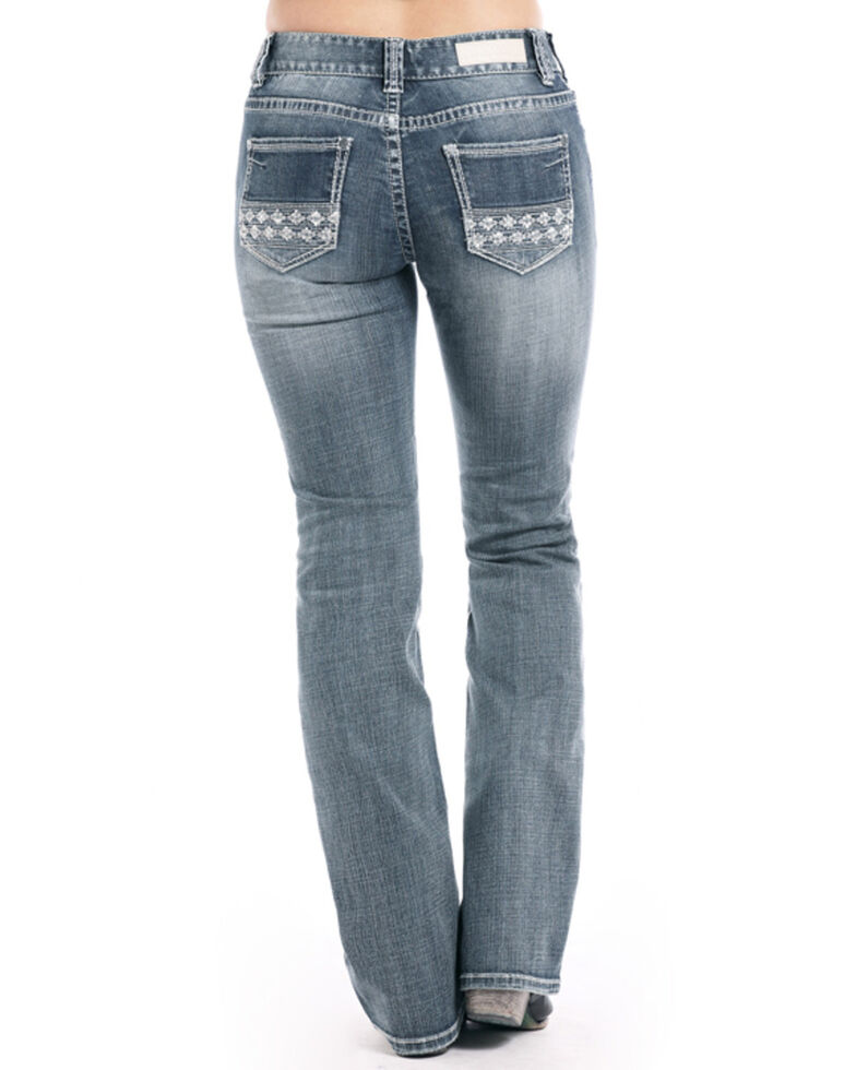 Rock & Roll Cowgirl Women's Vintage Medium Aztec Bootcut Jeans, Indigo, hi-res