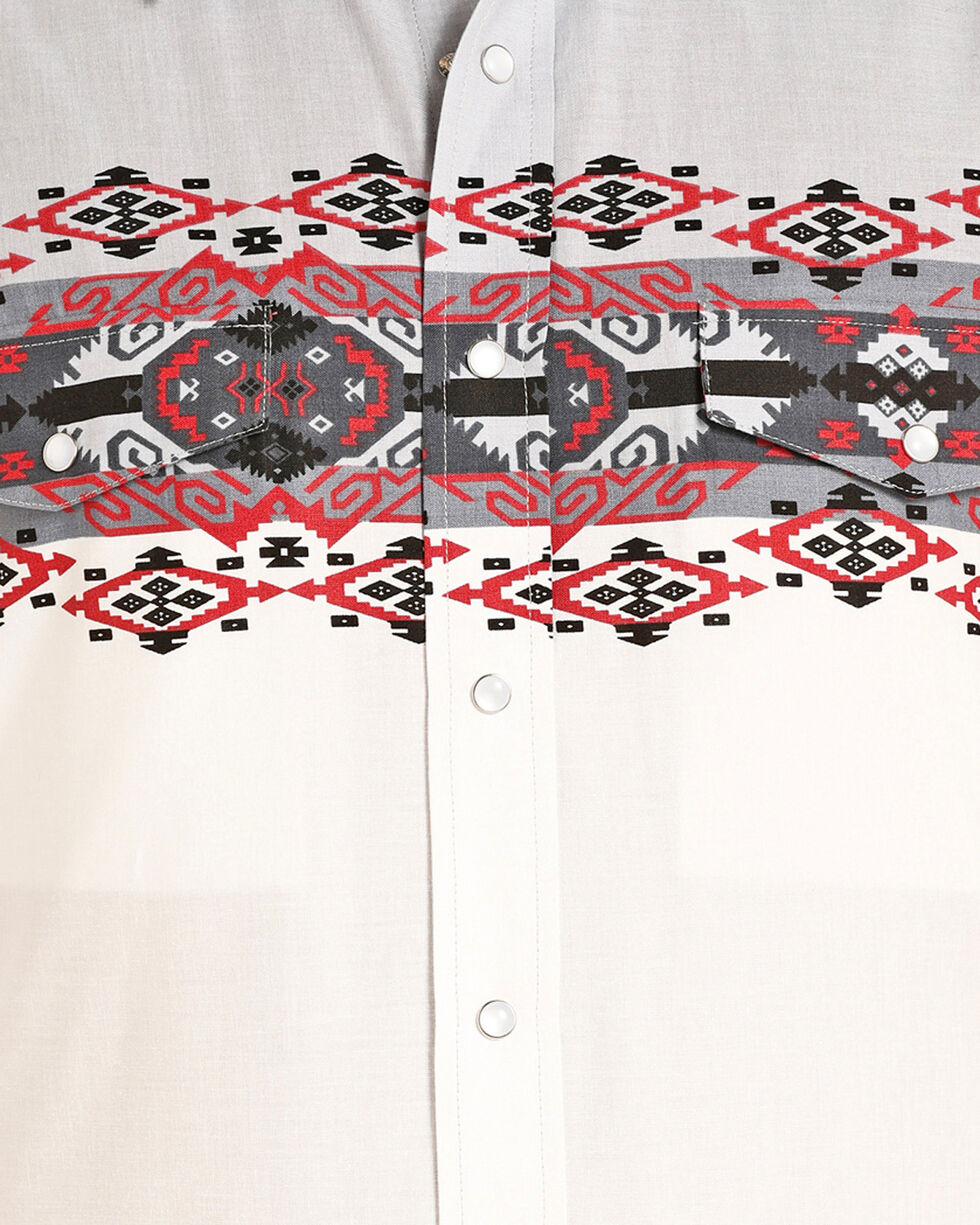 Panhandle Boys' Checotah Border Print Snap Shirt, , hi-res