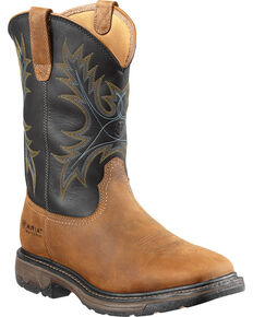 Ariat Men's Workhog H2O Waterproof Steel Toe Western Work Boots, Aged Bark, hi-res