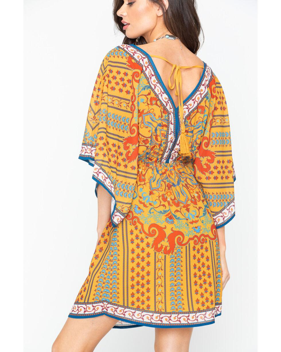 Flying Tomato Women's Bordered Flutter Sleeve Dress , Gold, hi-res