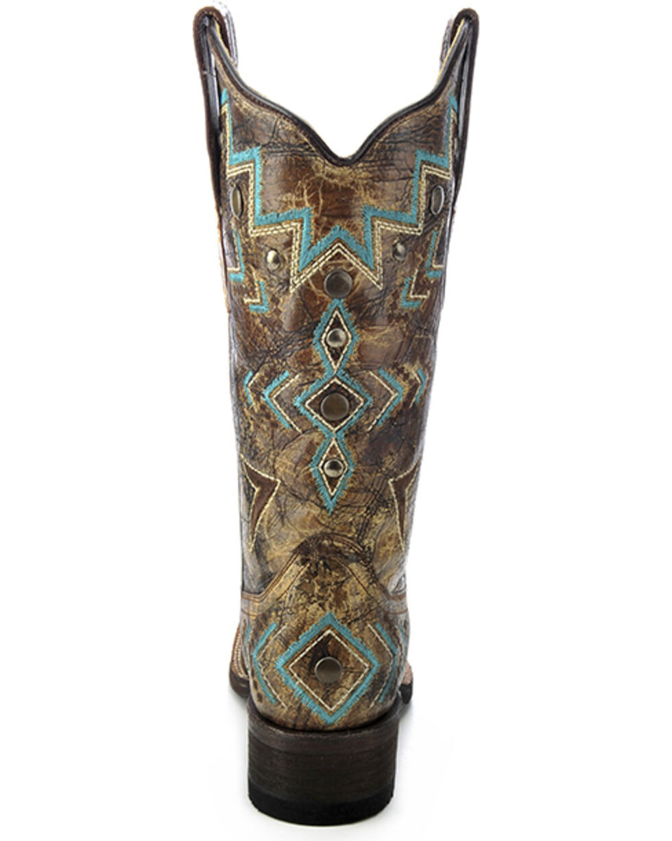 Corral Women's Embroidered Cowhide Square Toe Western Boots, Bronze, hi-res