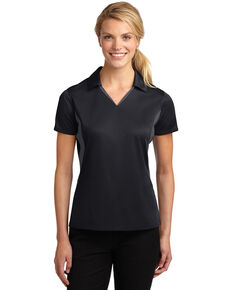 Sport Tek Women's Side Blocked Micro Sport Wick Short Sleeve Polo Shirt , Multi, hi-res