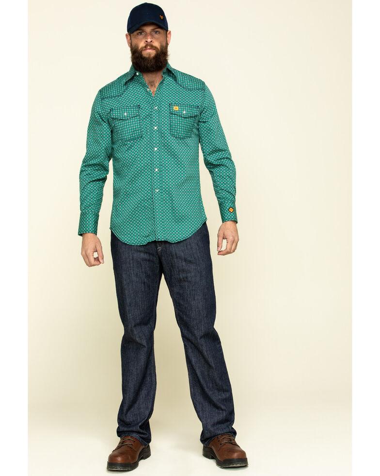 Wrangler 20X Men's FR Green Geo Print Long Sleeve Work Shirt - Tall , Green, hi-res