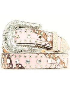 Nocona Women's Pink Mossy Oak and Rhinestone Belt, Pink, hi-res
