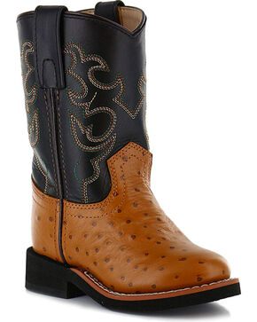 Cody James® Children's Ostrich Print Western Boots, Cognac, hi-res