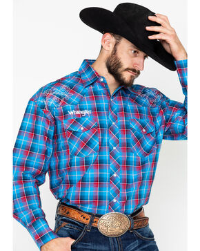 Wrangler Men's Blue Plaid Logo Long Sleeve Western Shirt, Blue/red, hi-res