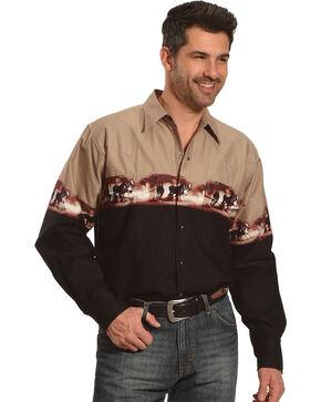 Ely Cattleman Men's Beige Horse Border Print Shirt , Beige/khaki, hi-res