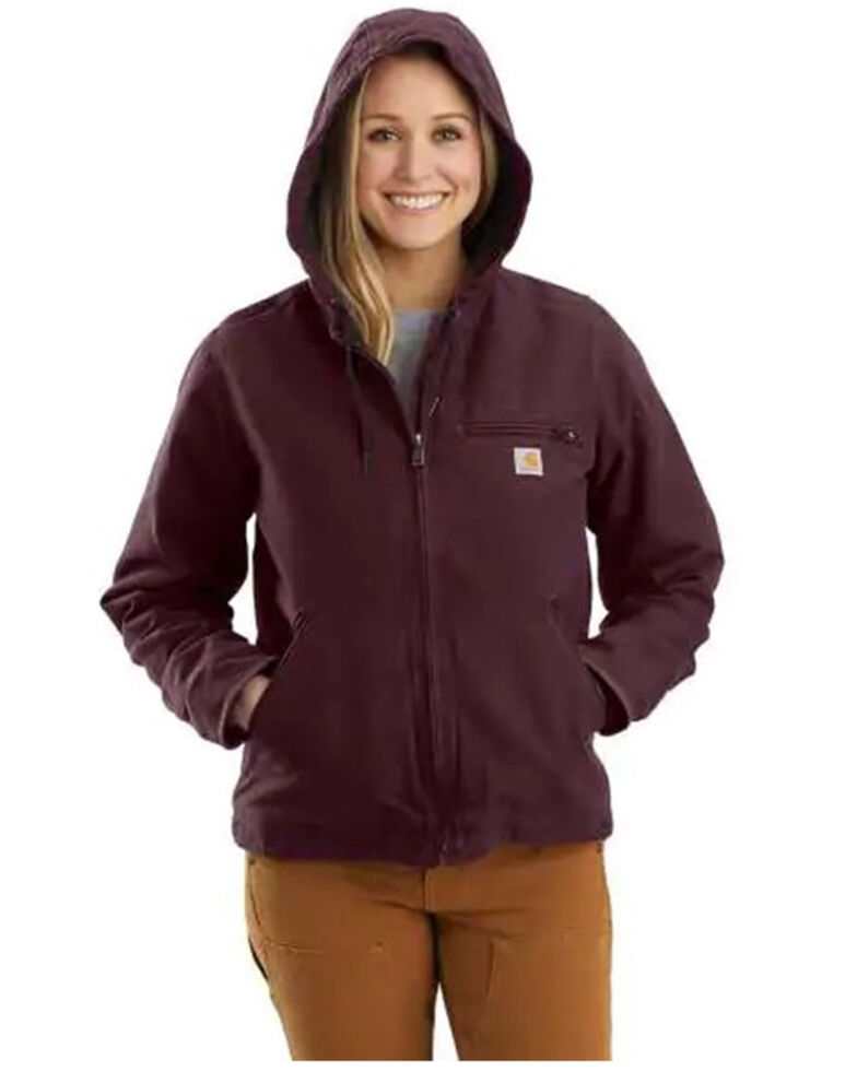 Carhartt Women's Deep Wine Washed Duck Sherpa-Lined Jacket , Wine, hi-res