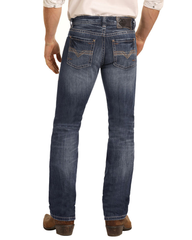 Rock & Roll Denim Men's Dark Vintage Revolver Slim Straight Jeans , Blue, hi-res