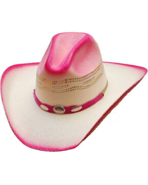 Western Express Girls' Hot Pink Straw Cowgirl Hat , White, hi-res