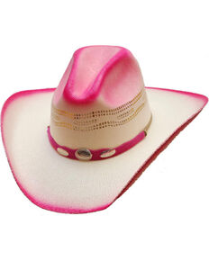Western Express Girls Hot Pink Straw Cowgirl Hat  0525e8630b5f